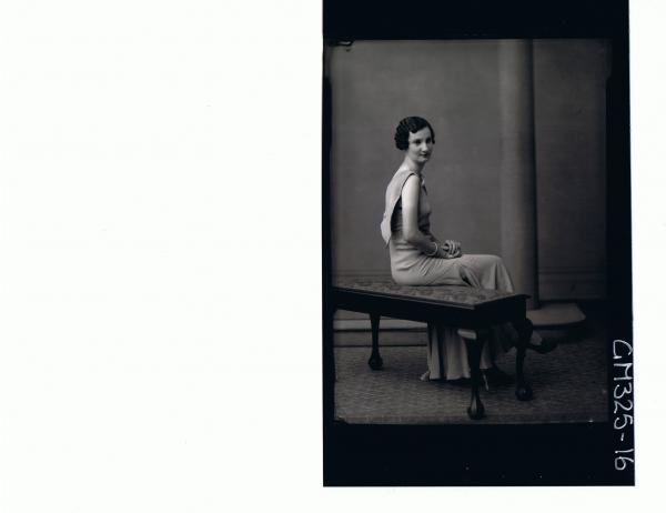 F/L Portrait of woman seated, wearing long evening dress; 'Lodding'