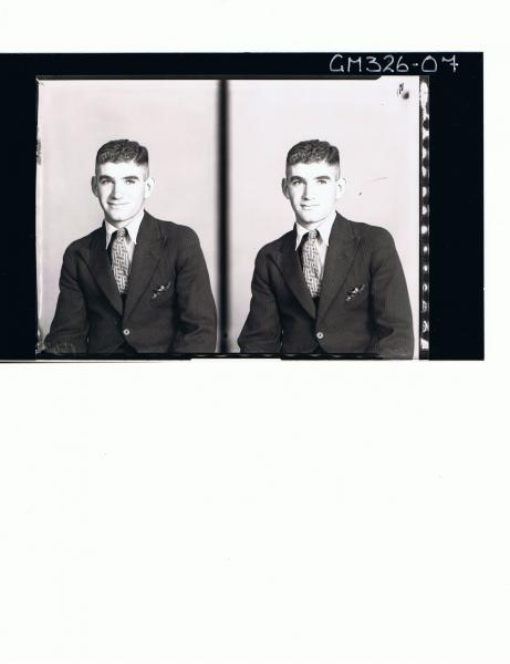 Two 1/2 Portraits of young man wearing shirt, tie and jacket; 'Levis'