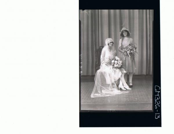 F/L Wedding Portrait,bride in wedding dress,long veil,holding bouquet,bridesmaid standing with hat and bouquet; 'Sayers'