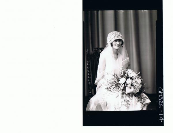 1/2 Length Portrait of bride, seated, holding a bouquet; 'Sayers'