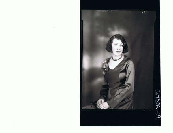 1/2 Portrait of woman seated wearing satin dress; 'Starr'