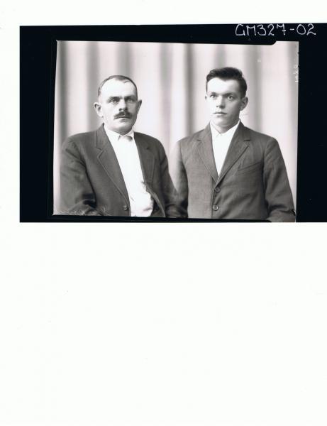 1/2 Portrait of elderly man with moustache, wearing shirt, jacket, young man wearing shirt & jacket; 'Starkovich'