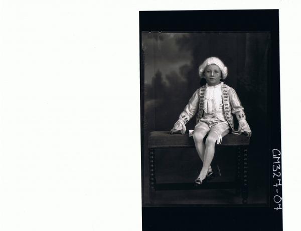 F/L Portrait of boy seated wearing fancy dress costume; 'Smith'