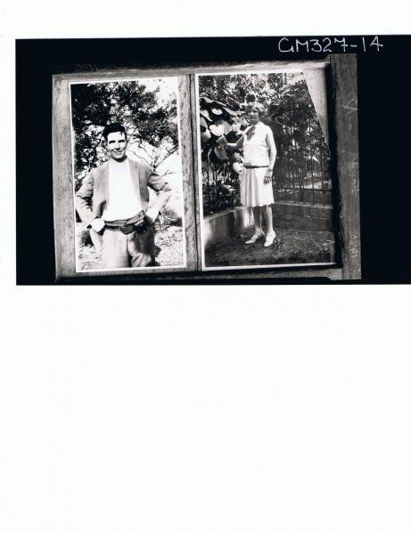 1/2 Portrait of man standing in bush, F/L portrait of woman standing in garden (copies); 'Stables'