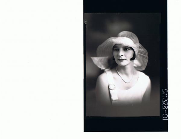 H/S Portrait of woman wearing hat; 'Sloan'