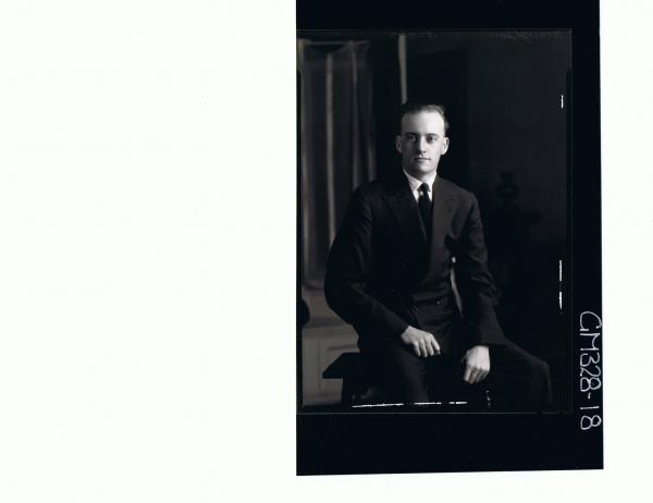 3/4 Portrait of man seated, wearing suit; 'Braughton'