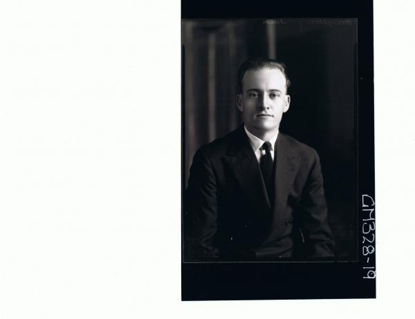 1/2 Portrait of man wearing shirt, tie, jacket; 'Braughton'