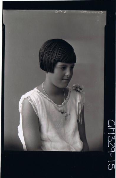1/2 Portrait of girl wearing lace trimmed dress; 'Bennett'