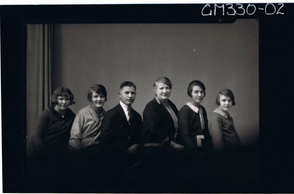 1/2 Group Portrait of elderly woman, young man, three young women and a girl; 'Buckman'
