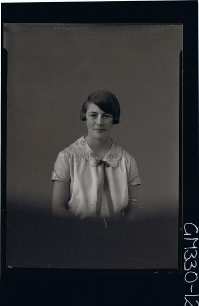 1/2 Portrait of teenage girl wearing dress with embroidery on collar & sleeves (passport); 'Mathews'