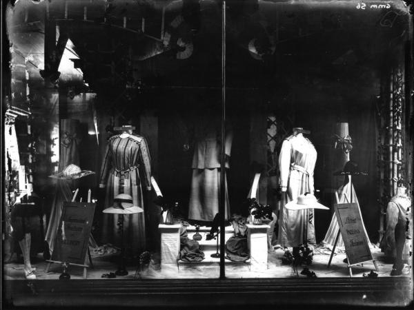 Brennans shop window, Millinery and Dress display.