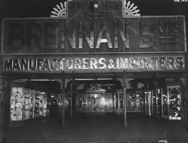 Brennan Bros. shop window from Hannan Street, showing the window displays and facade.