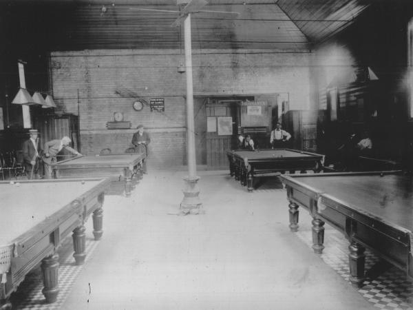 Billiard Room Mechanics Institute showing Billiard Tables and men playing Billiards.