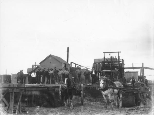 Men arranged outside corrugated iron buildings and ten stamp battery, Paddington Consuls.  Two horse drawn vehicles, one cart and one wooden roller.  Horse in background.