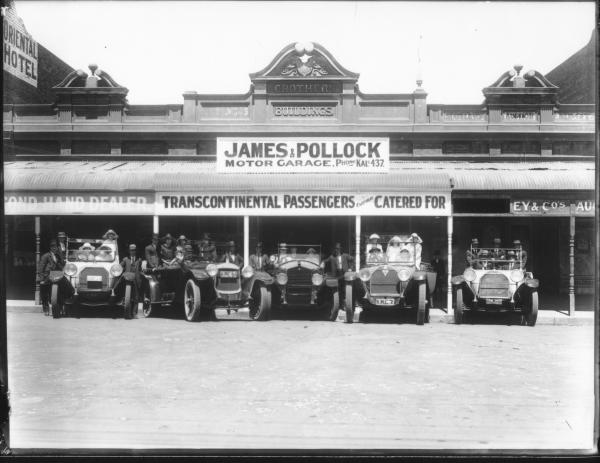 Motor Cars and Passengers outside James and Pollock Garage, Hannan Street - Oriental Hotel next door.
