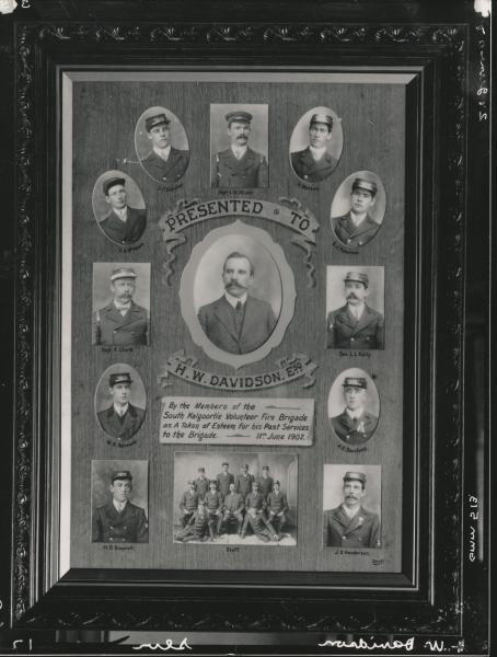 Copy of photo presentation to H.W. Davidson from South Kalgoorlie Fire Brigade, 11th June 1907.