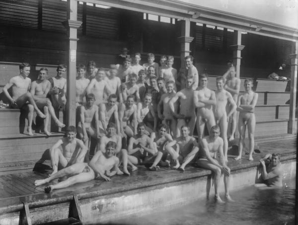 Group portrait of male bathers at Kalgoorlie's first baths, bathers are naked.