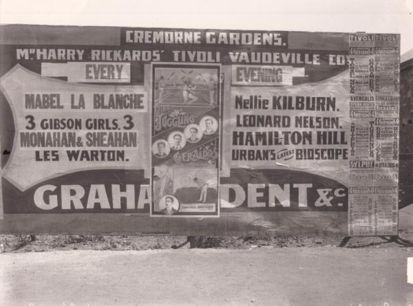 Cremorne gardens advertising bill board, Mr Geraldo, Maurice C. Geraldo of Joggling Geraldo fame.