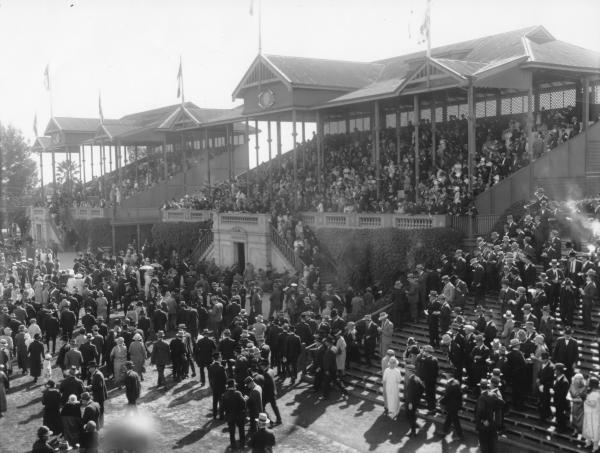 Crowd at Boulder racecourse grandstand. 1920s dress and hats. Close of Boulder Cup meeting  1925