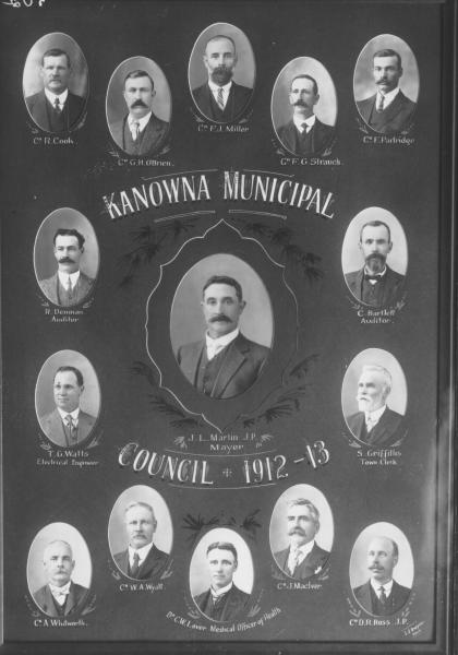 Portraits kanowna Municipal Council 1912 - 1913. Individual bust portraits on display board of councillors and staff. Mayor JL Martin J.P., Cr.R Cook, GH O'Brien,FJ Miller, FG Strauch, F Partridge, A Whitworth, WA Wyatt, J MacIver, RD Ross;  Auditors R Denman, C Bartlett, Elec.Engineer TC Watts, Clerk S Griffiths; Officer for health Dr CW Laver,