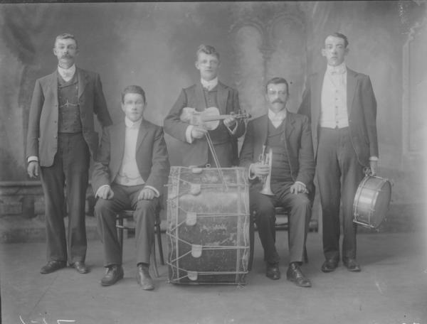 F/L  portrait Band members (5). Men with instuments. Mr J. O'Toole.