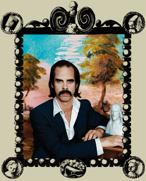 Nick Cave sitting in a suit in a hand painted frame