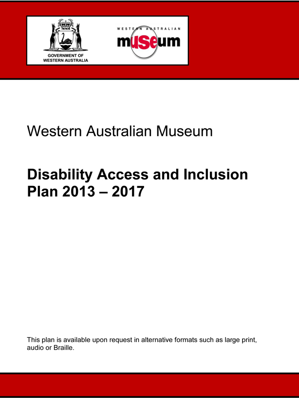 Front cover of the Disability Access and Inclusion Plan