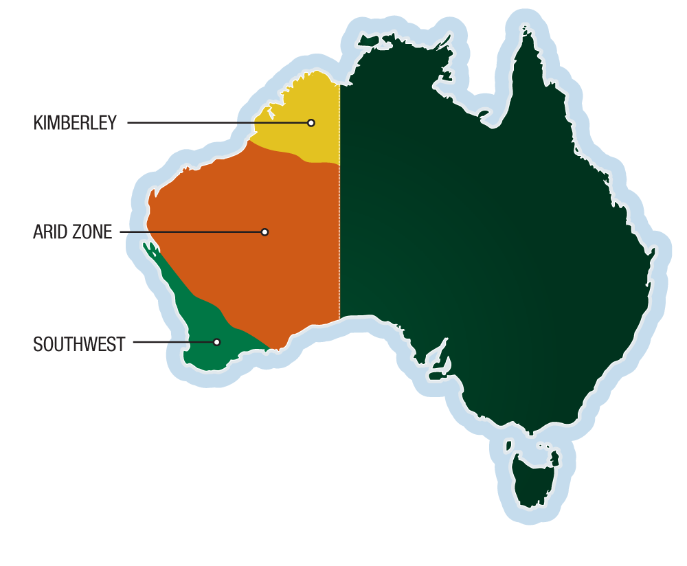 Map of Australia showing the Arid Zone, Kimberley and south west regions