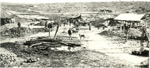 Wide lanscape of a Geraldton mine B/W .