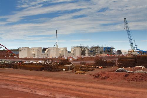 View across building site of a new mine.