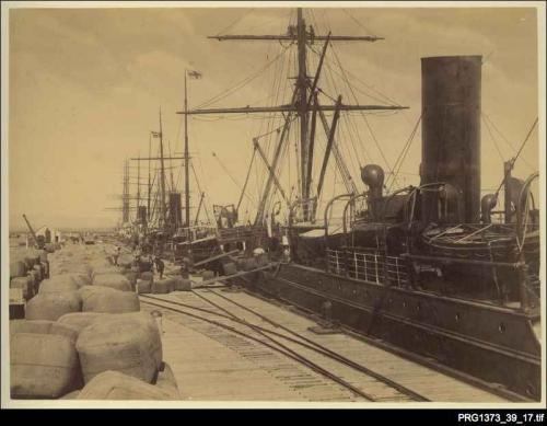 Ship in port at Fremantle being unloaded B/W.