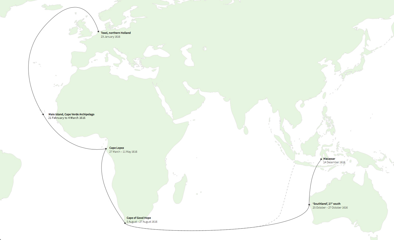 Hartog's Journey plotted on a map