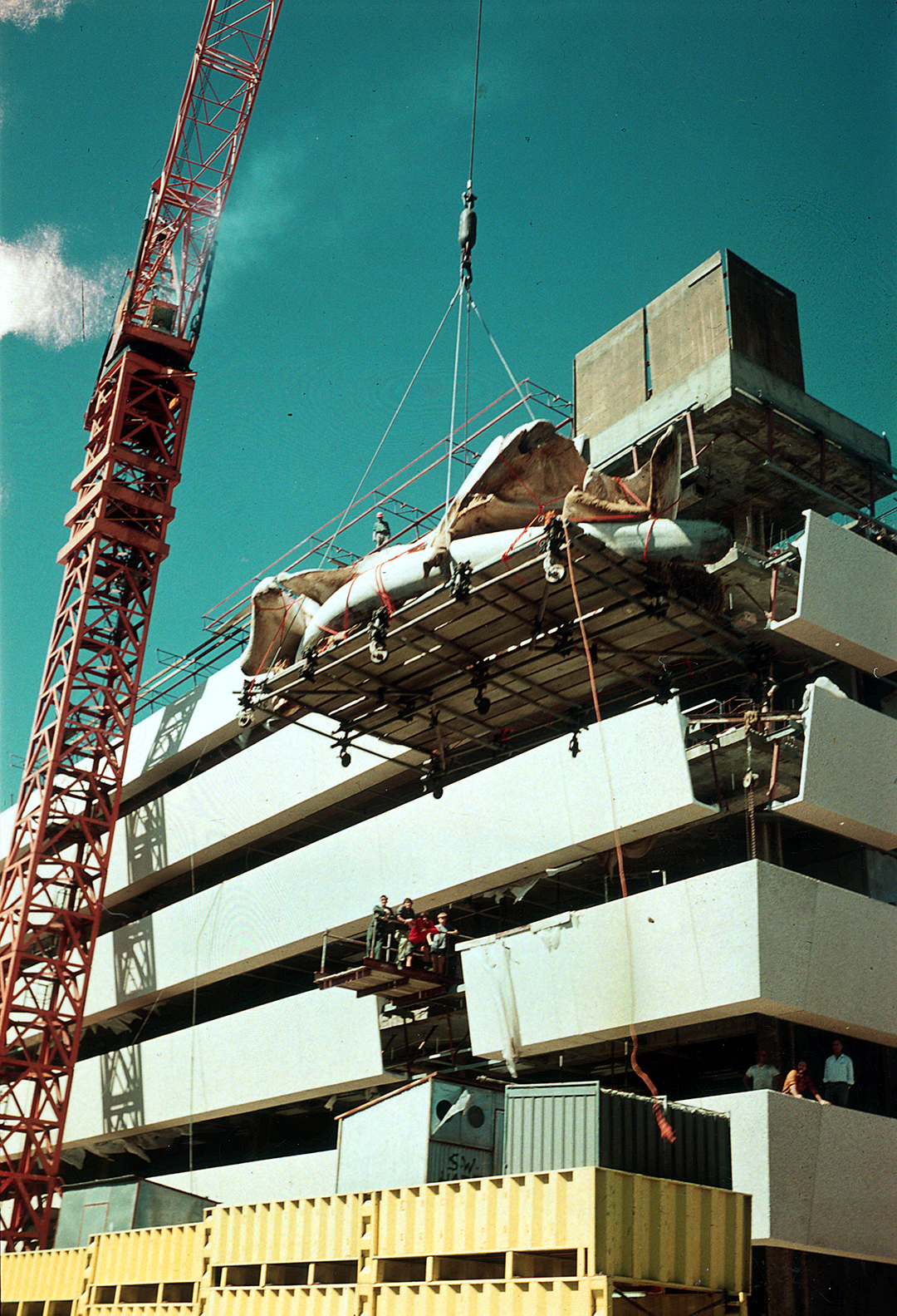 A large crant lifts a heavy load up toward a building under construction.