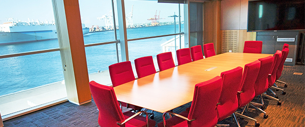 Image showing Maritime Museum boardroom with large windows and red chairs