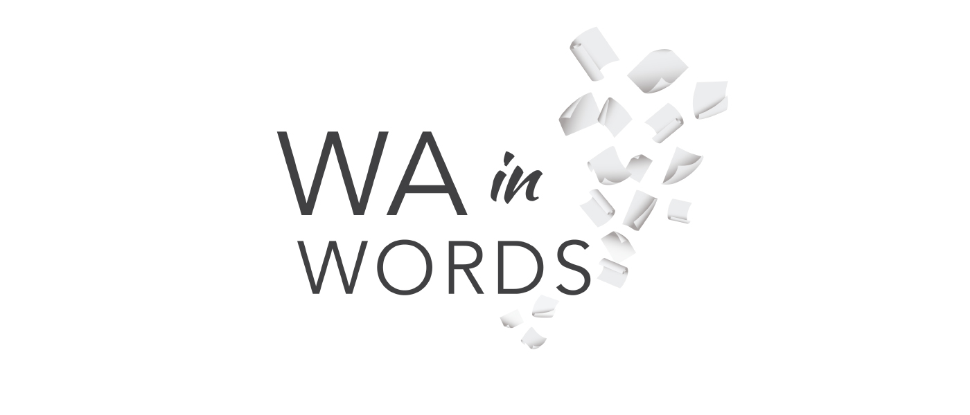 Western Australian in Words logo type and paper falling in the background.