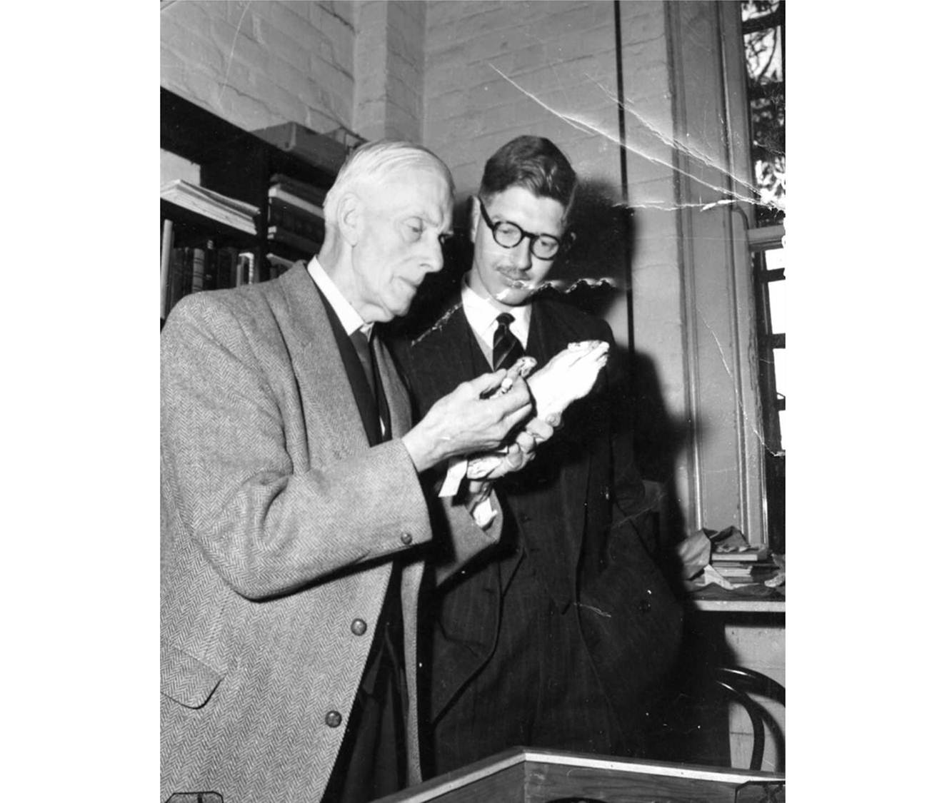 Black and white photo of two male staff examining rodent specimens