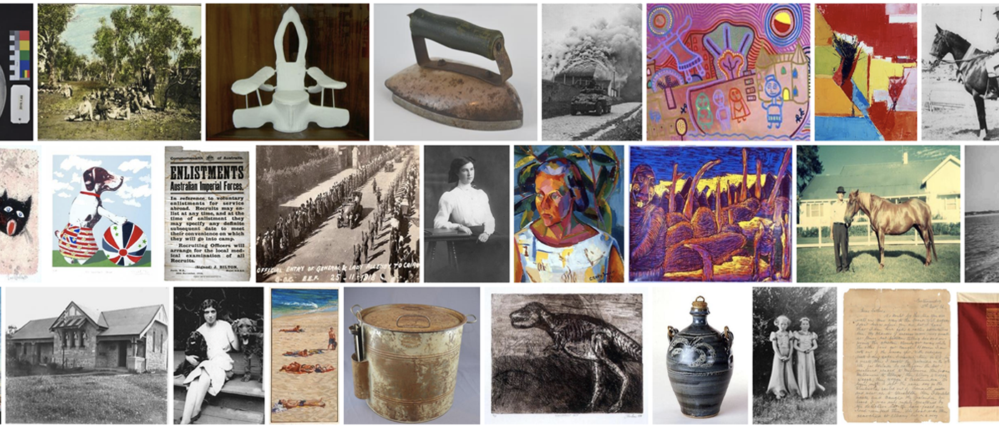 A photo collage of historical objects and art.