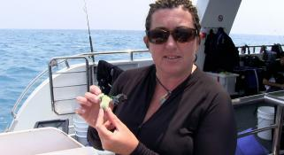 Zoe Richards talking about the corals onboard the Kimberley Quest