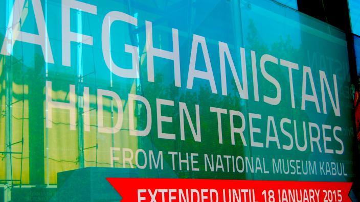 Image of Afghanistan: Hidden Treasures signage