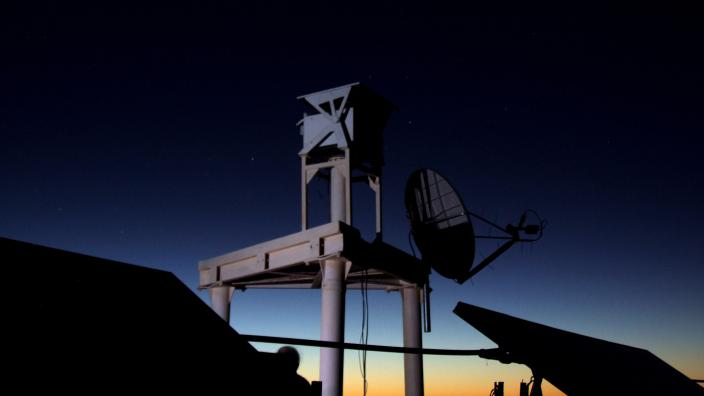 An observatory station at night