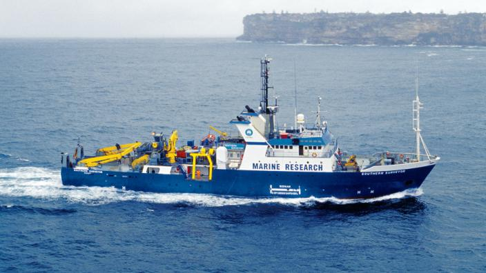 A large boat on the open ocean