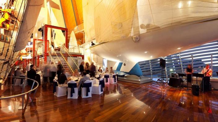 Australia II inside the WA Museum Maritime