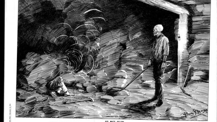 Underground miners with a 'widow maker' drill, Eastern Goldfields, 1890s.