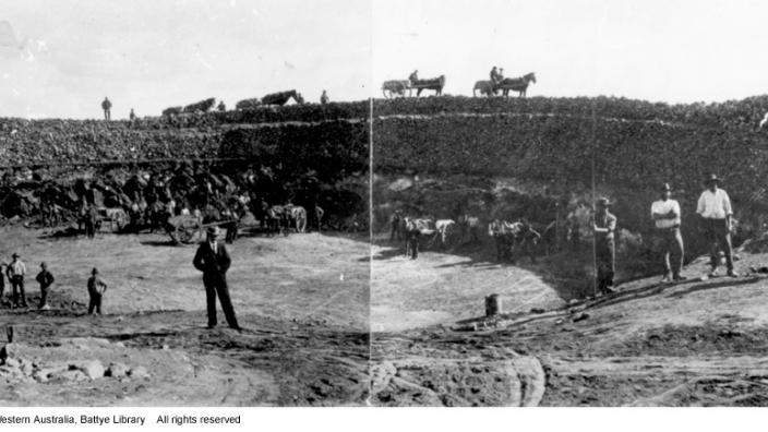 Construction of Mt Charlotte Reservoir, Kalgoorlie, c.1898