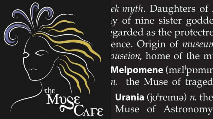 The Muse Cafe logo with decorative background graphic