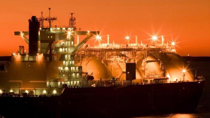 LNG Ship at night