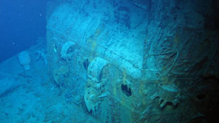 Underwater image of HMAS Sydney (II) showing Captain's sea cabin.