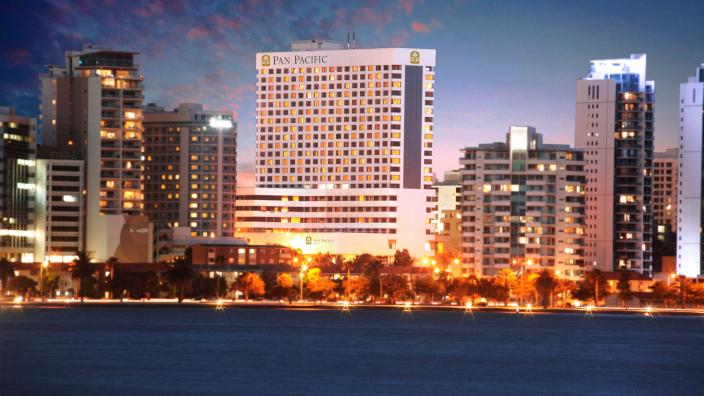 The Perth skyline with the Pan Pacific Hotel highlighted