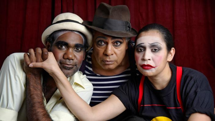 The Yirra Yaakin cast in full make up ready to perform