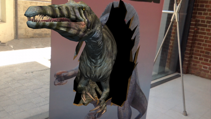 A spinosaurus coming to life with app